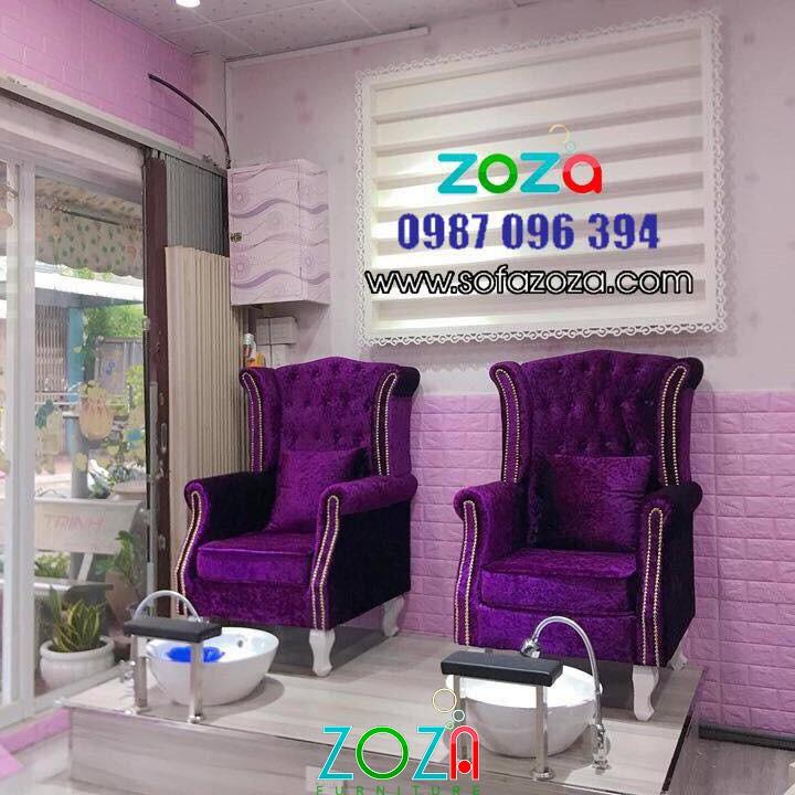 Ghế nail vải nhung màu tím