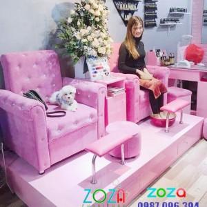 Ghế Nail màu hồng hot