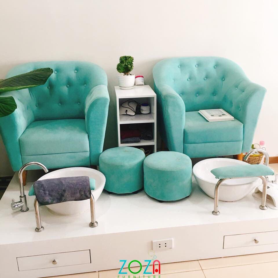 Ghế nail Đơn giản màu xanh